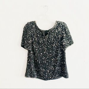 Scala Vtg Black Silk Sequin Beaded Blouse Top XL